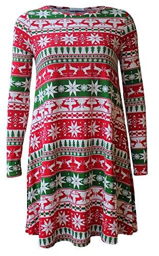 Mode 4 Moins Neuf Femme Grande Taille Manche Longue Noël Swing Robe. ROYAUME-UNI 8-26 ReindeerStar