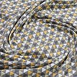 Stoff Baumwolle Elastan Single Jersey Dreieck grau ocker
