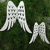 Engelsflügel weiß aus Metall mit Pick. 7cm / 12cm. 2 Größen, 2 Stück