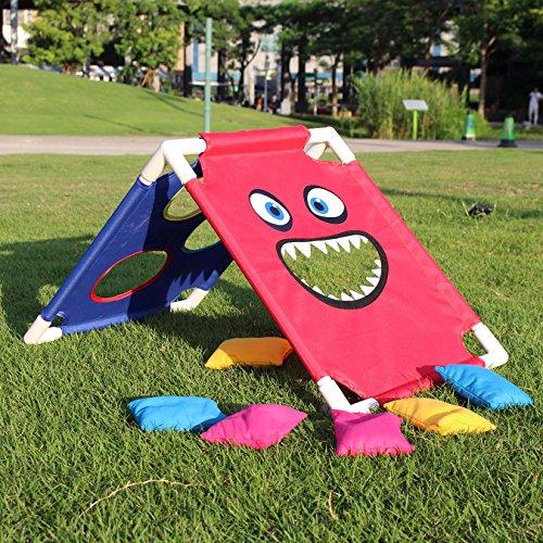Kinder Spiel Cornhole (Cornhole Board Set, Kinder Spielzeug für drinnen und Outdoor, Abnehmbar, mit 6 Bean Bags und eine Tasche)