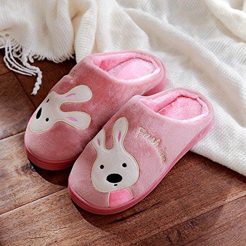 DogHaccd pantofole,Cartoon coppie di cotone di coniglio pantofole di casa bella casa interno anti-slittamento pantofole spessa caldo inverno. Rosso2