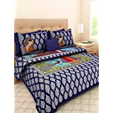 UniqChoice Jaipuri Handicraft Miniature Print Rajasthani Traditional 210 TC Cotton Bedsheet with 2 Pillow Covers - King Size, Blue