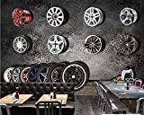 Fototapete Tapeten Wohnzimmer Fototapete VliesBenutzerdefinierte Wallpaper Mural Retro Vintage Auto Reifen Tv Hintergrund Wandbild Malerei Restaurant Hotel Tapete Deco, 350 * 245 Cm