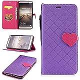 Para Huawei Mate 9 funda, (Amor púrpura) El amor golpeó el color de cuero de la PU Leather cubierta ,Función de Soporte Billetera con Tapa para Tarjetas correa de mano soporte para teléfono
