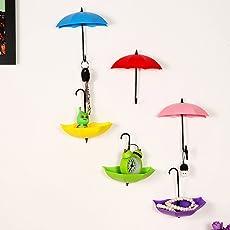 ShopAIS Plastic Umbrella Shape Wall Mount Key Holder (Multicolour) - Set of 1
