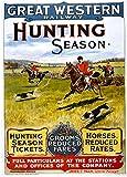 Vintage Travel Jagd Saison mit Great Western Railway. Jagd Saison Tickets. Grooms und Pferde reduziert Tarife 250gsm, Hochglanz, A3, vervielfältigtes Poster