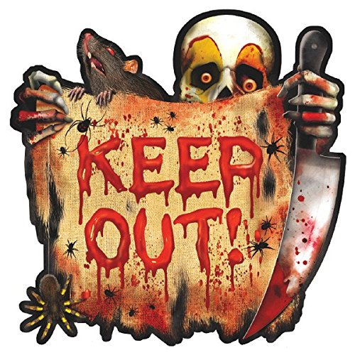 amscan 26,6 cm Creepy Carnival Bulk Papier Ausschnitt Keep Out (Keep Halloween-tür Out)