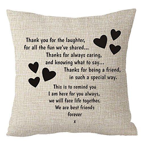 fringcoook Best Geschenk zu Schwestern Wir sind Best Friends Forever Friends Überwurf Kissenbezug Kissen Fall Baumwolle Leinen Material dekorative 45,7x 45,7cm quadratisch (45,7x 45,7cm Zoll, 1)