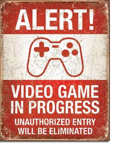Video game in progress targa placca metallo piatto nuovo 31x40cm vs4522-1
