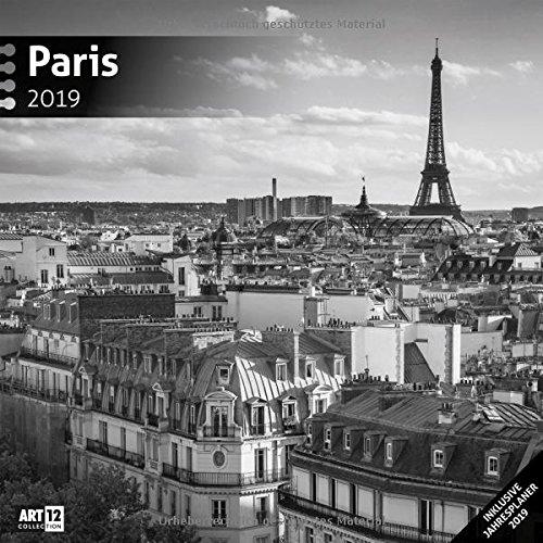 Paris 2019, Wandkalender / Broschürenkalender / Bildkalender / Fotokalender / Städtekalender in Schwarz-Weiß im Hochformat (aufgeklappt 30x60 cm) - ... mit Monatskalendarium zum Eintragen
