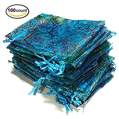 Golvery 100 Pieces Coralline Blue Organza Gift Bags, Drawstring Pouches