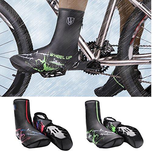 MagiDeal Coppia Copriscarpe Protezione Invernale Calzatura Accessorio Per Bici MTB Impermeabile - verde Rosso