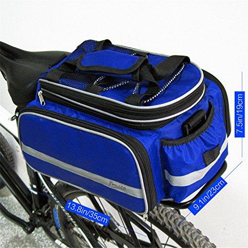 Pellor Wasserdichte Multifunktion Fahrrad Gepäckträgertasche Bag Rücksitz Tragetasche Taschen Mountainbike Hutablage Packtaschen für Lange Radtouren Reise Blau