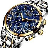 Lige Herren Analog Quarz Armbanduhr mit Gold Blau Wasserdicht Edelstahl Rund Zifferblatt 9849