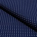 Hans-Textil-Shop Stoff Meterware Punkte 2 mm Marine Blau auf Weiß
