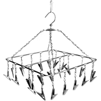 Homezo 25 Clips Stainless Steel Square Cloth Dryer/Clothes Drying Stand/Hanger with Clips(Cloth Drying Hanger)