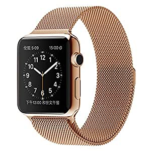 Apple Watch Band, LEMFO Magnet Lock Milanese Mesh Loop Stainless Steel Strap Replacement Wrist iWatch Band for Apple Watch All Models (42mm rose gold)