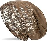 styleBREAKER warme Feinstrick Beanie Mütze mit Metallic Print und Fleece Innenfutter, Slouch Longbeanie, Unisex 04024132, Farbe:Braun / Silber