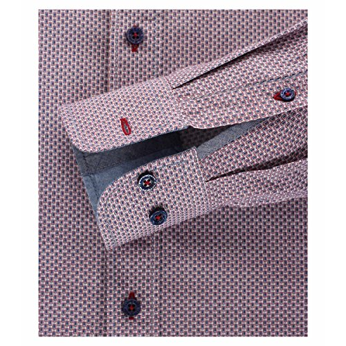 Casa Moda Langarmhemd rot-blau-grau gemustert Übergröße Mehrfarbig