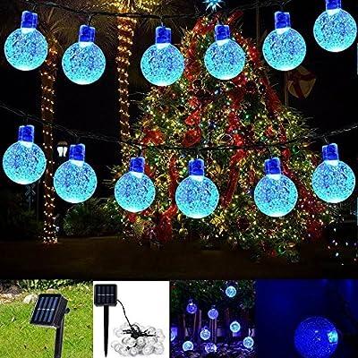 EONHUAYU Solar Crystal String Lights, Outdoor Solar String Lights 7M 50LED Solar Crystal Ball String Lights Waterproof for Garden,Patio,Christmas,Wedding,Home, Party Indoor Outdoor Decoration (Blue)