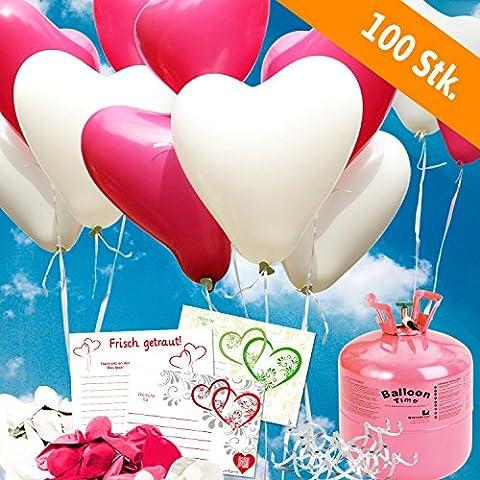 100 HELIUM Herzluftballons Hochzeit pink/weiss - KOMPLETTSET aus weißen&pink HERZ Heliumballons, Helium Einwegflasche, Ballonkarten und Ballonschnur zum Luftballons steigen lassen zur Hochzeit - Hochzeitsspiele und