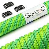 Paracord 550 Seil mit 3 x Klickverschluss für Armband, Neon-Grün/Grün