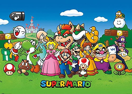 Nintendo Super Mario Group Jump and Run Games videogiochi - Giant Poster XXL - 140 x 100 cm