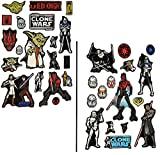 2 Bögen - Glow in the Dark ! - Sticker / Aufkleber - Star Wars - Clone Wars - selbstklebend Glowing - leuchtet im Dunkeln - Darth Vader Yoda Jedi the dark side / Anakin Skywalker - Luke