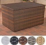 CLP Polyrattan-Aufbewahrungsbox I Gartentruhe für Kissen und Auflagen I In verschiedenen Farben und Größen erhältlich L = 438 Liter, Braun Meliert
