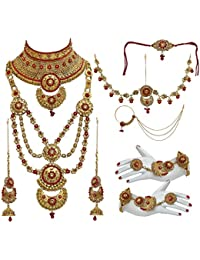 Lucky Jewellery Bridal Golden Red Color Alloy Gold Plated Wedding Jewellery Set For Girls & Women - B07CKKZY81