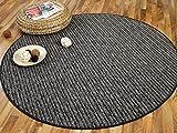 Snapstyle Streifenberber Teppich Marta Anthrazit Grau Rund Streifen in 7 Größen