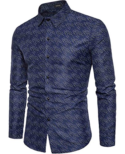 NIDICUS Mens Evening Club Fashion Mosaic Dots colorful Slim Fit Dress Shirt Blue L
