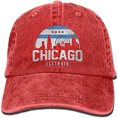 qinhanxinchengxianlibaihuodian Unisex Chicago City Flag Skyline USA aus gewaschenem Denim Cotton Baseball-Mütze Sport Outdoor Adjustable One Size Schwarz