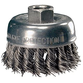 PFERD 82522 Single Row Power Knot Cup Wire Brush with External Nut and Standard Twist, Threaded Hole, Carbon Steel Bristles, 4 Diameter, 0.014 Wire Size, 5/8-11 Thread, 9000 Maximum RPM by Advance Brush