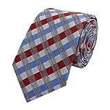 Fabio Farini Moderne Krawatte 6 cm in verschiedenen Farben, Rot-Blau-Grau kariert