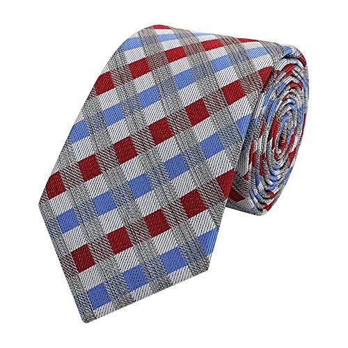 Moderne Fabio Farini Krawatte 6 cm in verschiedenen Farben, Rot-Blau-Grau kariert
