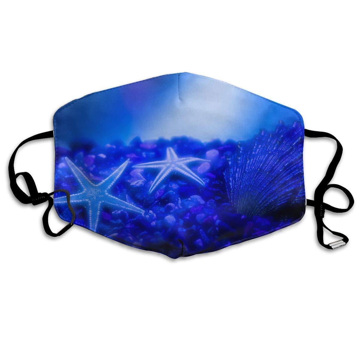 Daawqee Máscara de Boca, Antipolvo Cubierta de Boca Blue Starfish Print Reusable Washable Earloop Máscara de Boca for Men Women