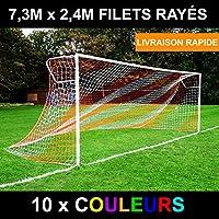 EuroMarkt 7,3m x 2,4m Filet Rayé/Deux Couleurs pour des Buts de Foot (10 Options de Couleur Disponibles) [Net World Sports]