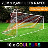 EuroMarkt 7,3m x 2,4m Filet Rayé/Deux Couleurs pour des Buts de Foot (10 Options de Couleur Disponibles) [Net World Sports] (Blanc/Bleu, Paire)