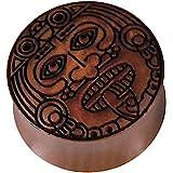 Chic Net Sawoholz - Piercing a forma di guerrieri intagliati a mano, design tribale organico marrone
