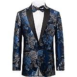 Dobell Mens Blue Floral Jacquard Tuxedo Jacket Regular Fit Contrast Peak Lapel