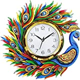 Divyacraft Wooden Wall Clock For Home Latest Design For Living Room Decorative Wall Clock 14x13 Inch (Multicolor)