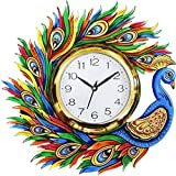 #8: Divyacraft Wooden Wall Clock for home Latest Design for Living Room Decorative Wall Clock 14x13 Inch (Multicolor)