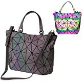 bolsos de cuero de la PU de Luminous Luminous geométricos Shtic Lattice Bolso holográfico de arco iris de cuero ecológico par