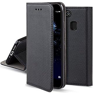 Moozy Hülle Flip Case für Huawei P10 Lite, Schwarz - Dünne magnetische Klapphülle Handyhülle mit Standfunktion