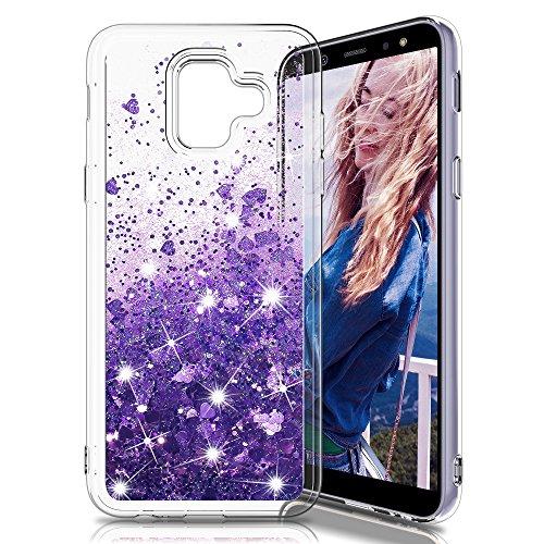 Galleria fotografica Mascheri Cover Samsung Galaxy A6 2018, Sottile 3D Bling Glitter Liquido Brillantini Lucido cuore scintillante Carino Creativo scintillante Cristallo Silicone Custodia per Samsung A6 2018 -Porpora