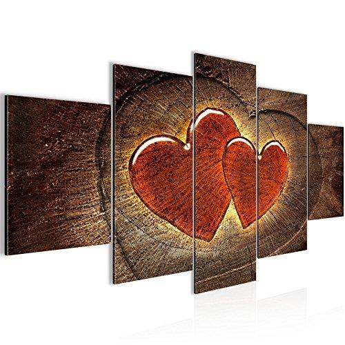 Runa Art Bilder Herzen Holz Wandbild 200 x 100 cm Vlies - Leinwand Bild XXL Format Wandbilder Wohnzimmer Wohnung Deko Kunstdrucke Braun 5 Teilig - Made in Germany - Fertig Zum Aufhängen 104151a -