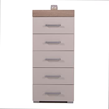 4dc719c3050 5 Drawer Tall Boy Chest of Drawers Bedroom Furniture Narrow Chest White    Oak Effect