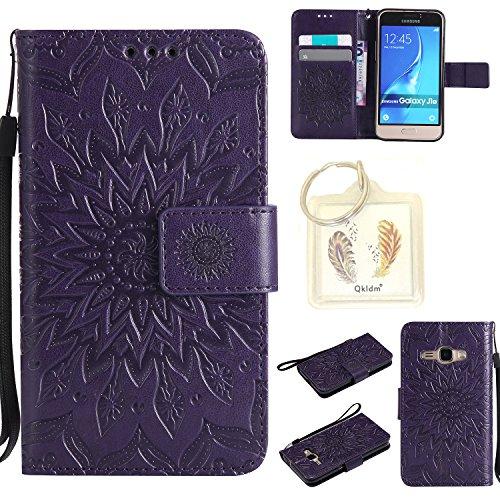 Preisvergleich Produktbild für Samsung J1 (2016) J120 Geprägte Muster Handy PU Leder Silikon Schutzhülle Handy case Book Style Portemonnaie Design für Samsung Galaxy J1 (2016) J120 + Schlüsselanhänger/*13 (4)