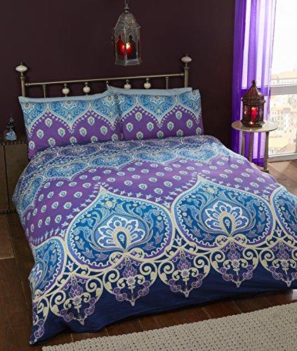 Asha Saphire indischen Design Bettwäscheset, Bettbezug und 1Kissenbezug Bettwäsche-Set, Blau/Violett, Single -